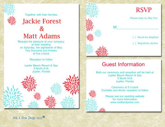 Turquoise And Red Printable Wedding Invitation By Owlsandelves 2000