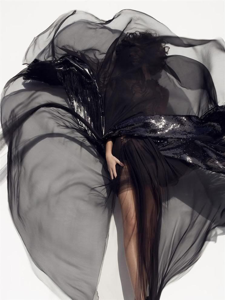 Freja Beha Erichsen by Sølve Sundsbø for Harper's Bazaar (March 2008) Editorial: Brights Dress: Alexander McQueen (RTW Spring 2008)