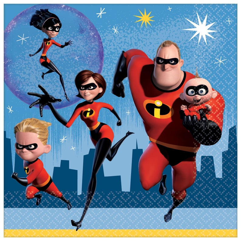 The Incredibles Luncheon Napkins Birthday Party The Incredibles Party Napkins
