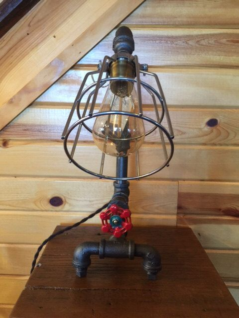 Black Iron Pipe Table Lamp With Vintage Steampunk Valve Light Switch By Mtnpipecreations On Etsy