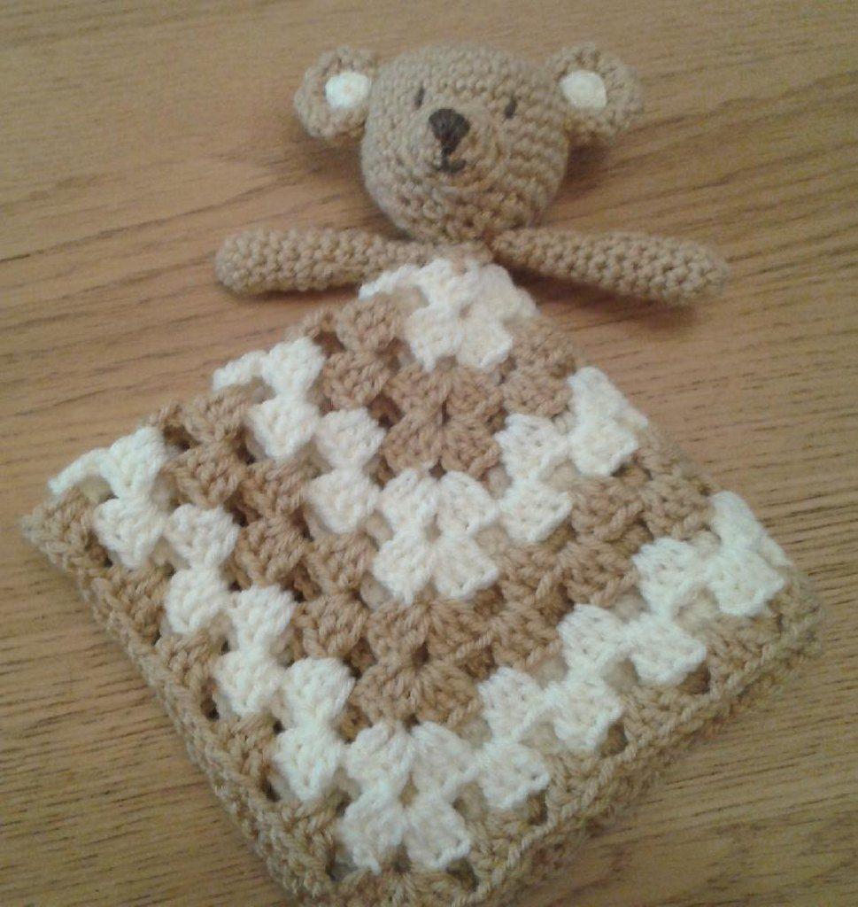 Teddy Bear Lovey Security Blanket Blankie Crochet Knit