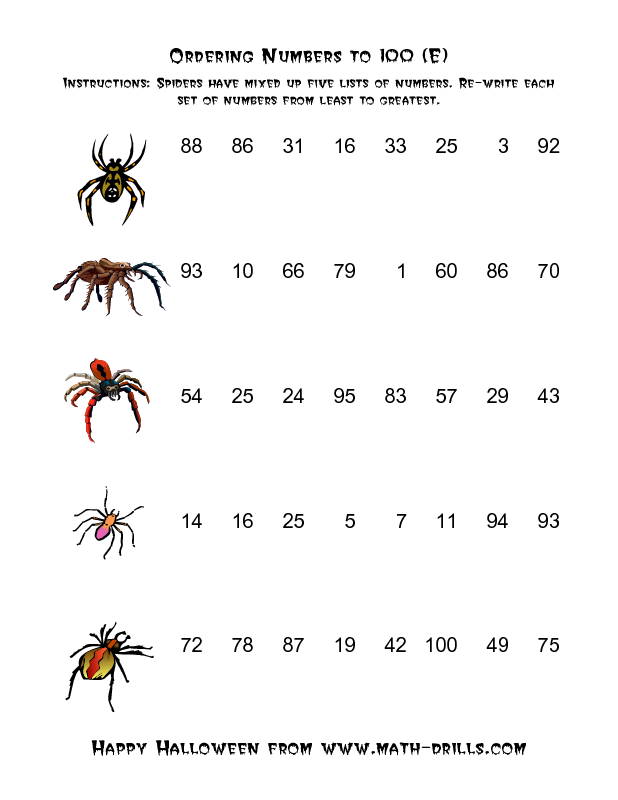Halloween Math Worksheet -- Spiders Ordering Numbers to 100 (E ...