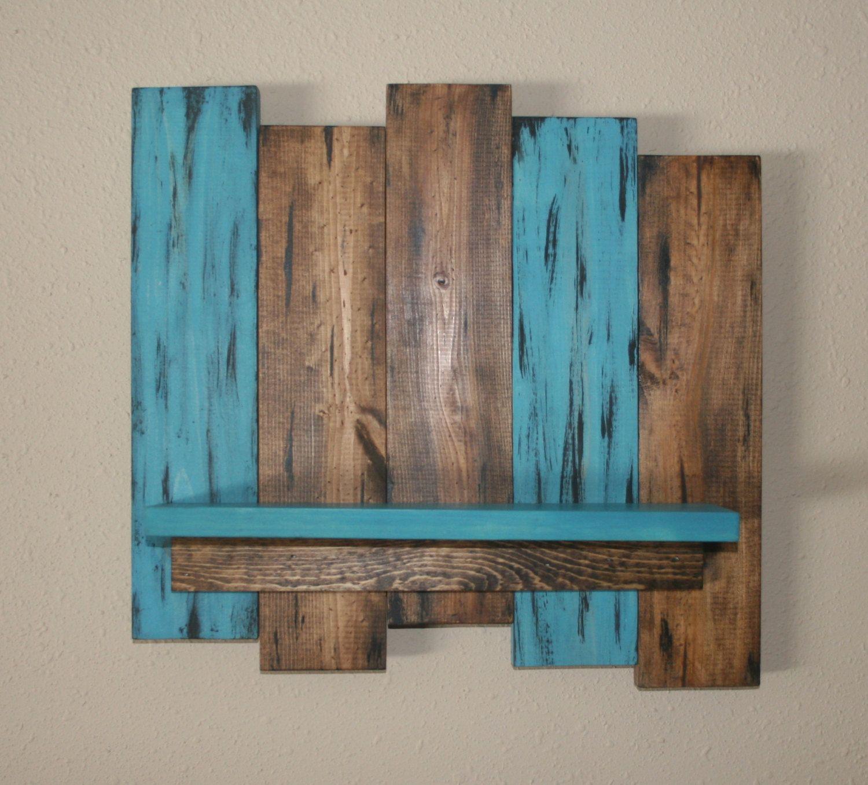 Rustic Wood Wall Shelf Reclaimed Wood Shelf Distressed Pallet Wood Primitive Home Decor Teal W Reclaimed Wood Wall Art Rustic Wood Walls Teal Wall Decor