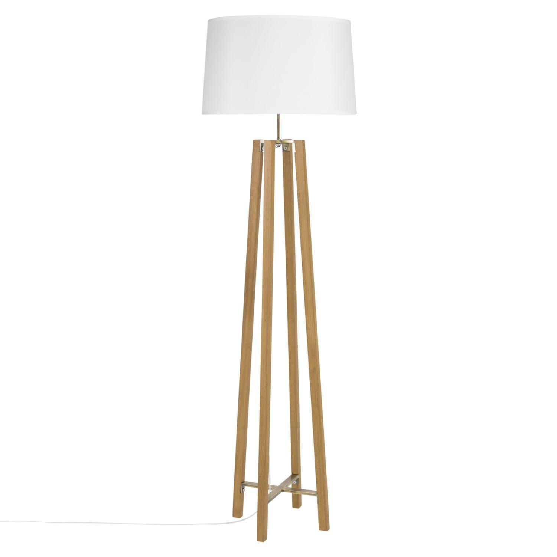 Dreifuss Stehlampe Aus Eichenholz Mit Weissem Lampenschirm H160