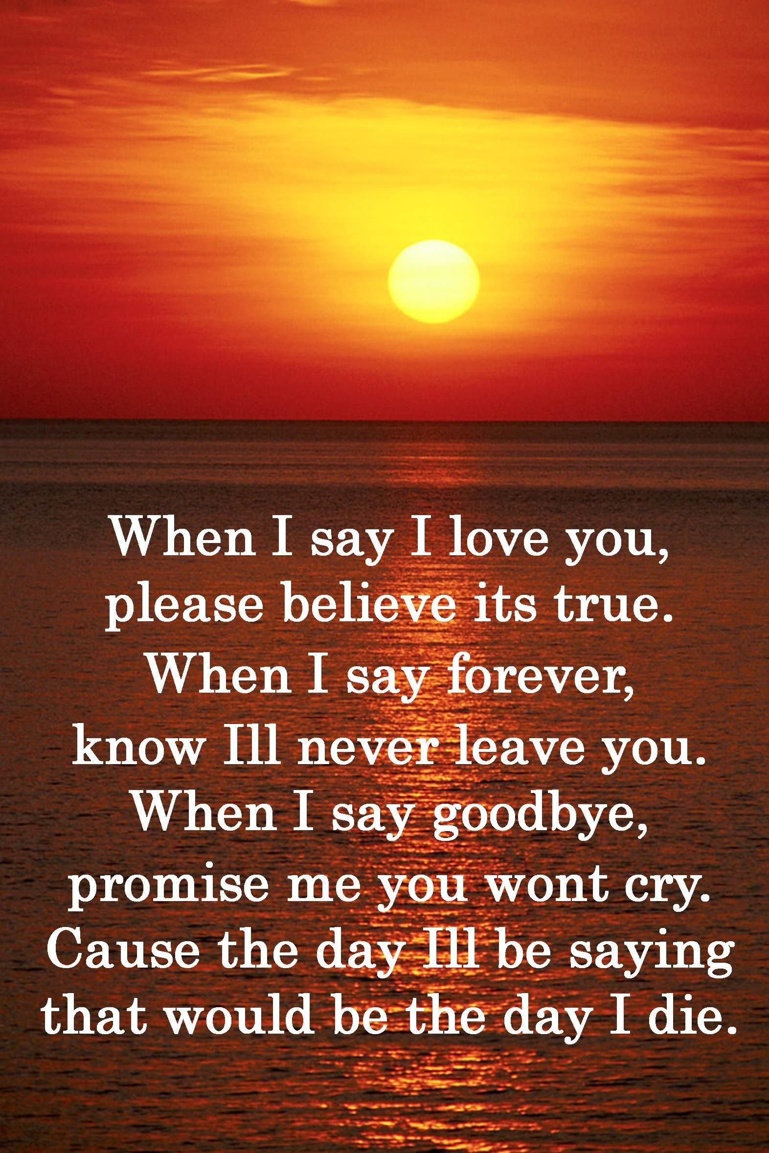 When I say I love you, please believe its true. When I say forever