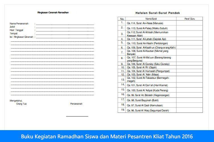 Download Buku Kegiatan Ramadhan Dan Materi Pesantren Kliat Untuk