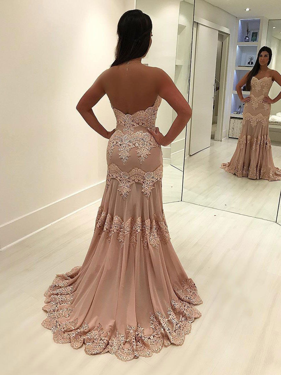 Lace appliqued mermaid prom dresses with sweetheart neck apd