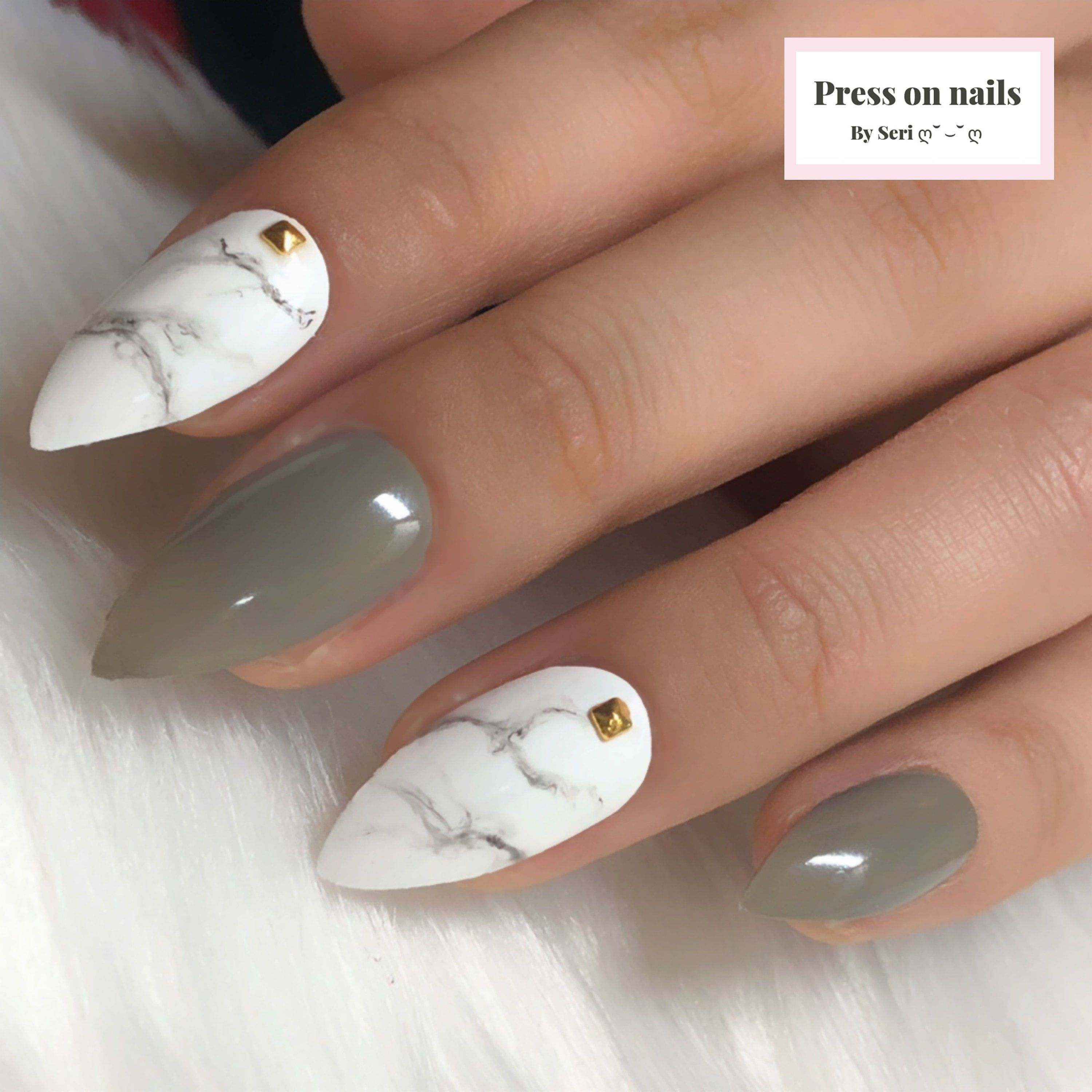 The Grey Green White Marble Hand Painted Press On Gel Nails Marble Coffin Nails Marble Stiletto Nails Marble Fake Nails In 2020 Gel Nails Fake Nails Coffin Nails