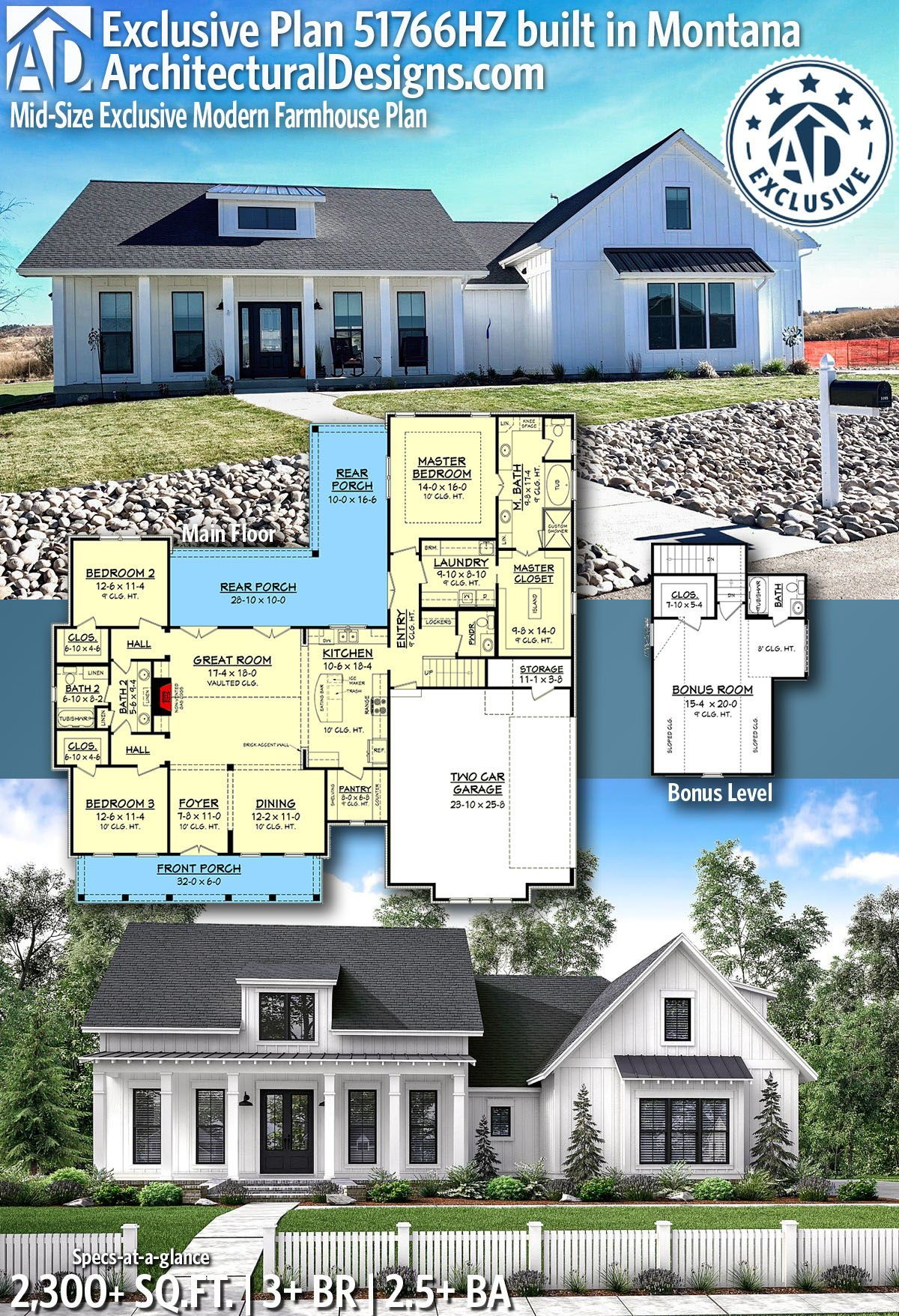 Plan 51766hz Mid Size Exclusive Modern Farmhouse Plan In