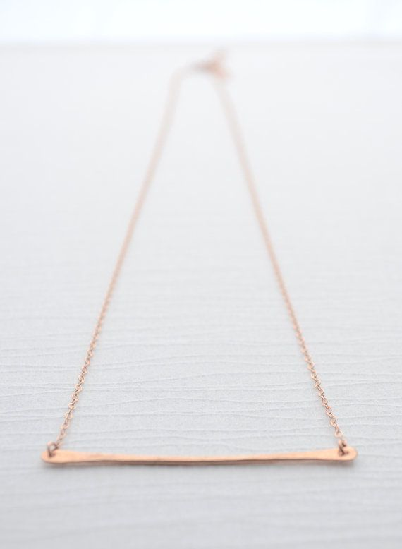 Horizontal Hammered Bar Necklace - handmade bar measures 2 inches and is available in silver, gold and rose gold. By Olive Yew.