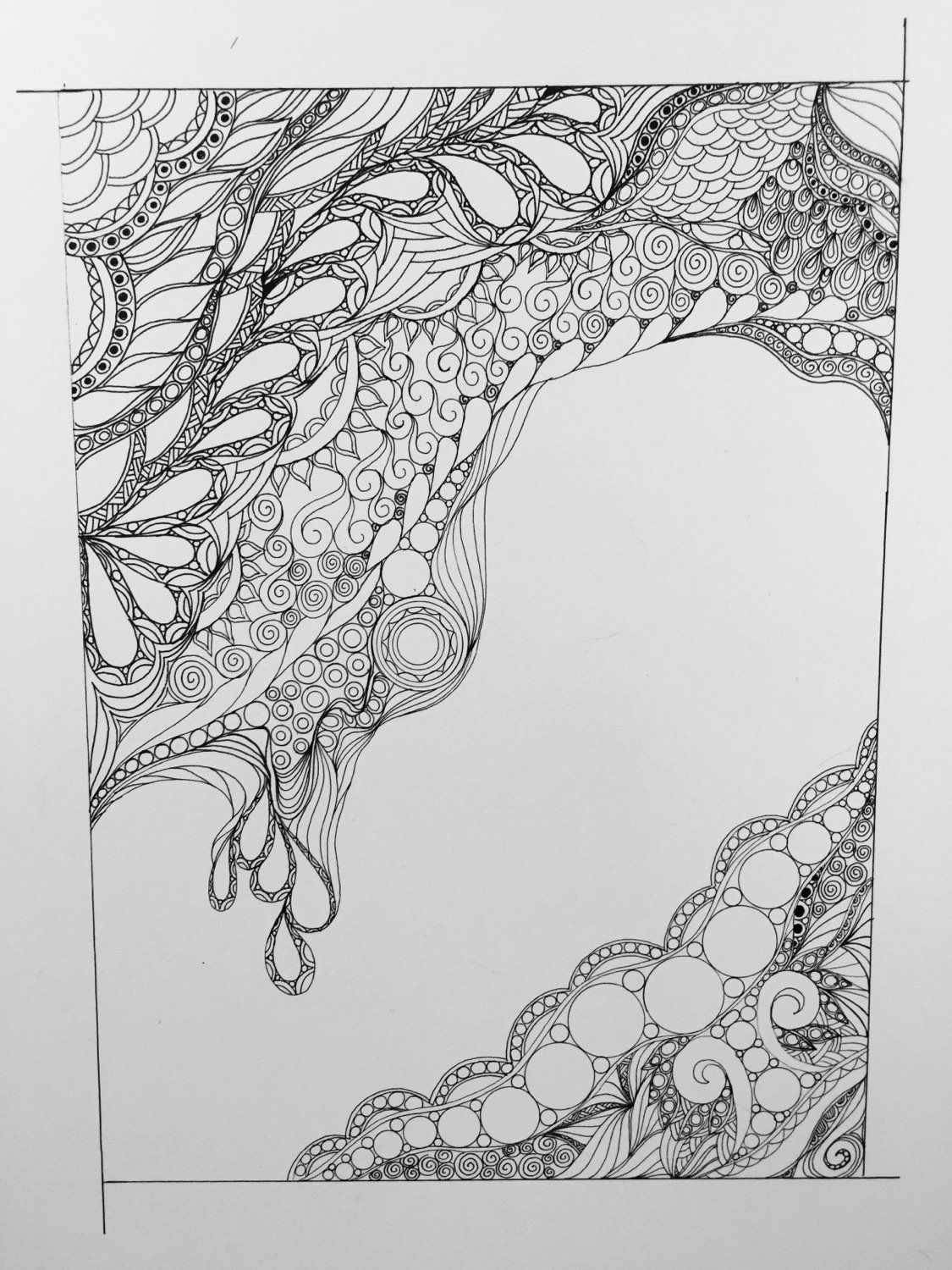 Zentangle abstractzentangle artblack and white abstractink drawingwall artwall decor
