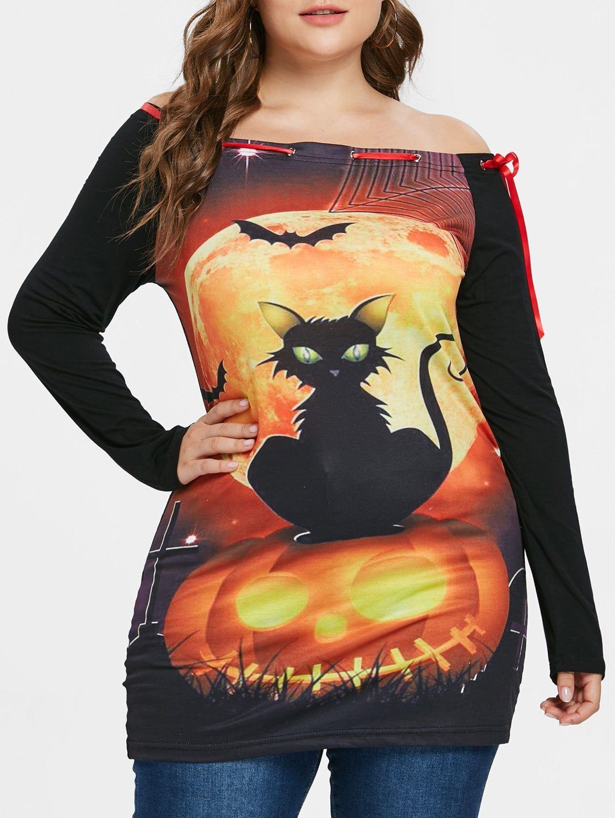 Plus Size Off Shoulder Printed Halloween Tunic Tshirt
