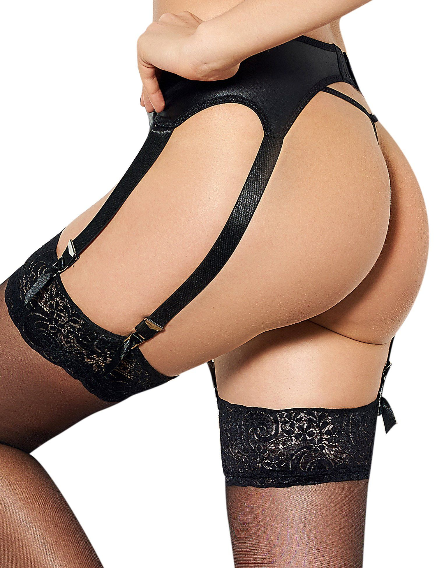 2e1657a1e59 comeondear Women Plus Size Highwaisted Faux Leather Black Garter Belt Set  for Stocking Black 6 X Large   US 1820     Click photo to examine more  details.