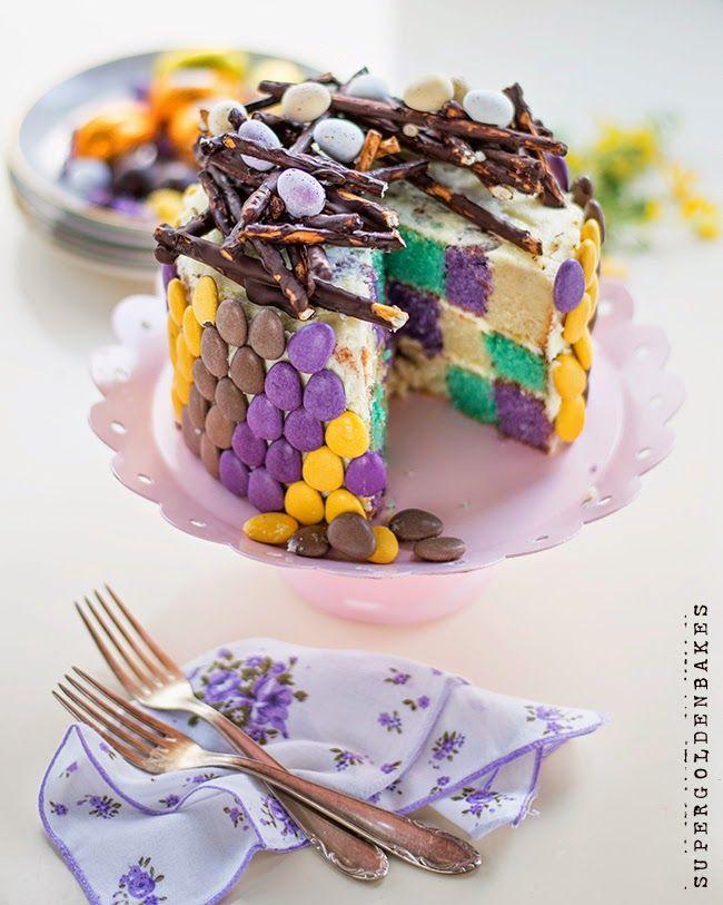 Supergolden bakes: Easter checkerboard cake