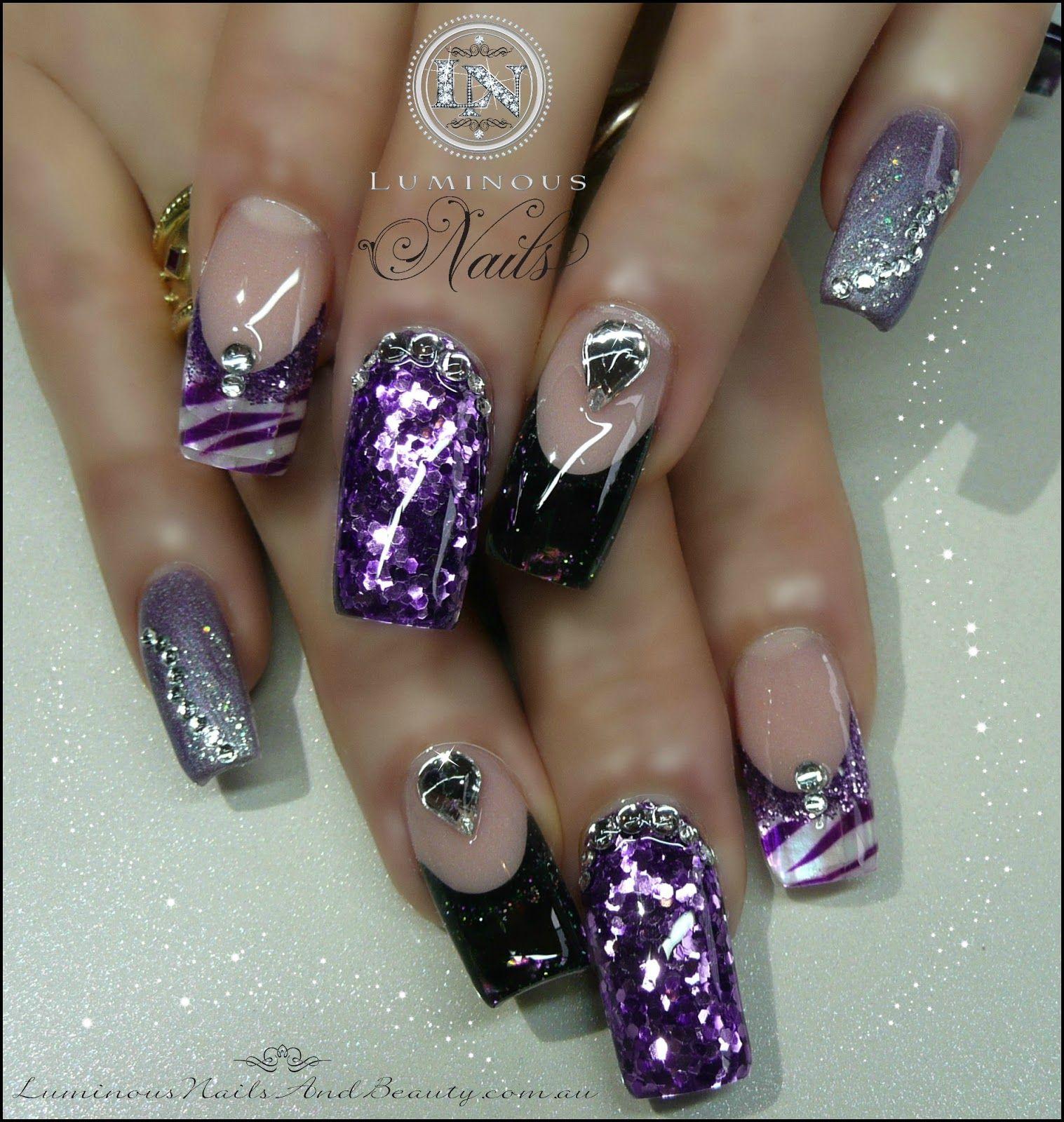 luminous nails: zebra print & black opal pearl nails | nails