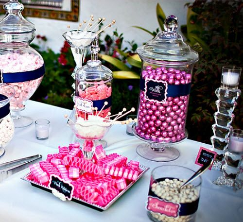 pink candy buffet that would be fun or maybe at the shower