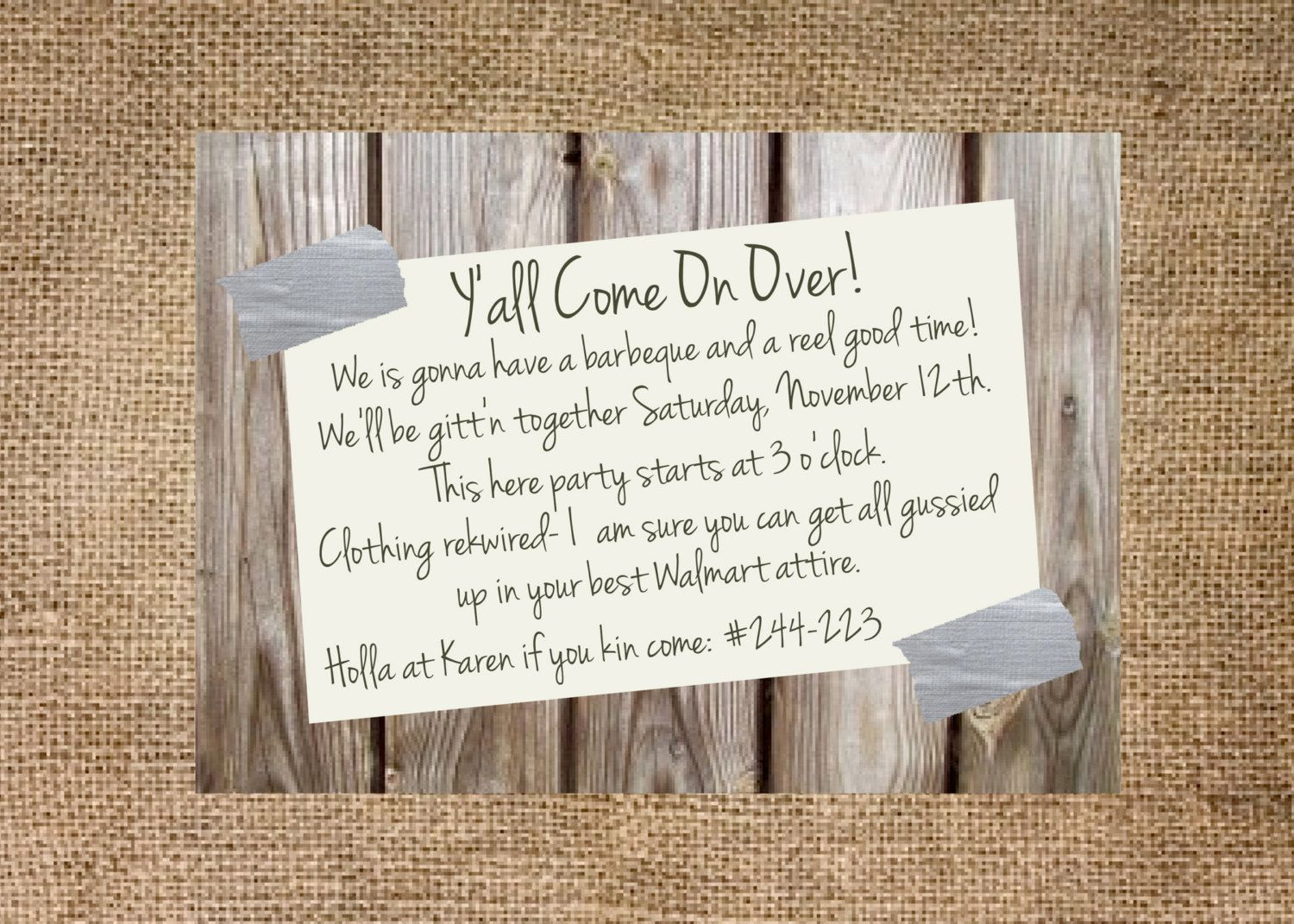 invitation wording for networking event%0A Redneck party invitation personalized and by KMCustomCreations