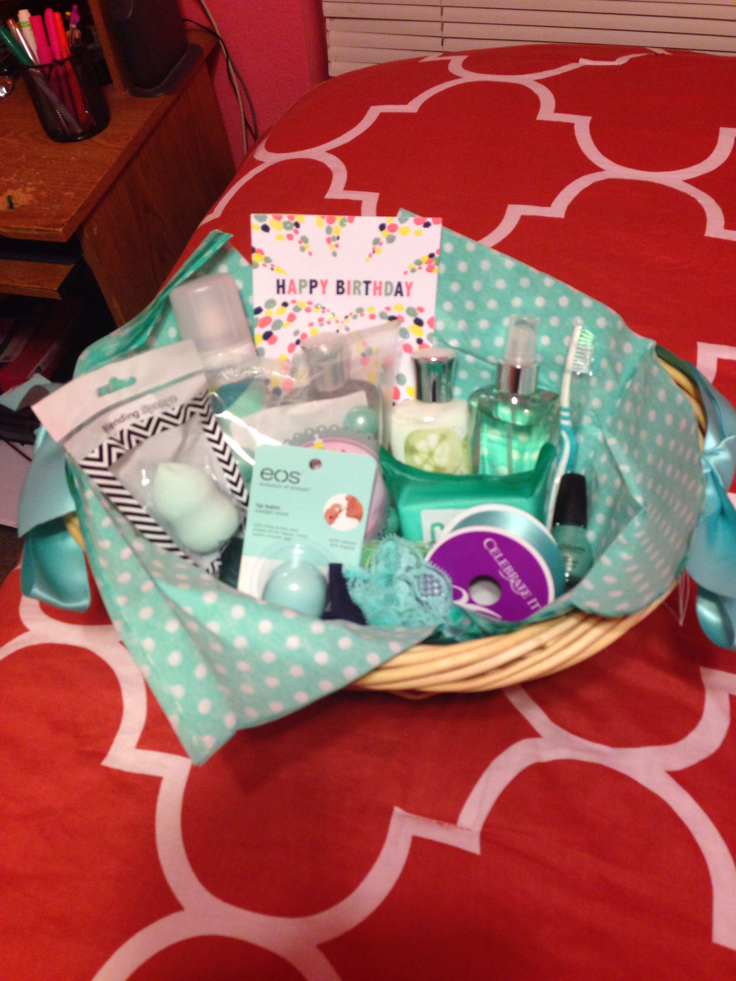 Color themed gift basket for a birthday themed gift