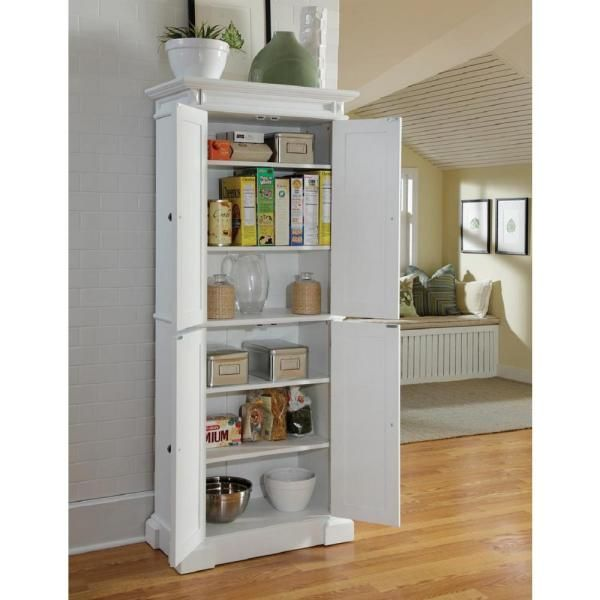 HOMESTYLES Americana Pantry in White 5004-692 - The Home Depot