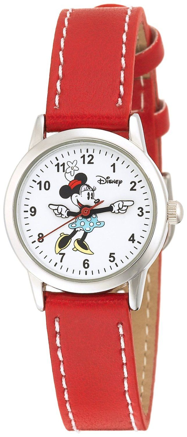 Disney Women's MN1023 Minnie Mouse White Dial Red Strap Watch, (women mickey mouse watch, disney, watches, bling, casual watch, disney watches and jewelry, mickey mouse watch, minnie mouse watch, pink, womens minnie)