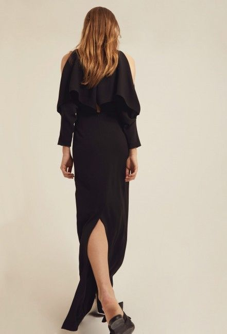 b1ea543aac Image 4 of AQ AQ Larissa Deep Plunge Maxi Dress with Exposed Shoulders and  Frill Detail · Black
