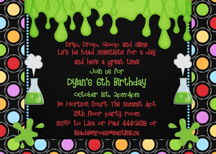 Science Party Themed Invitation Party Invitations Pinterest