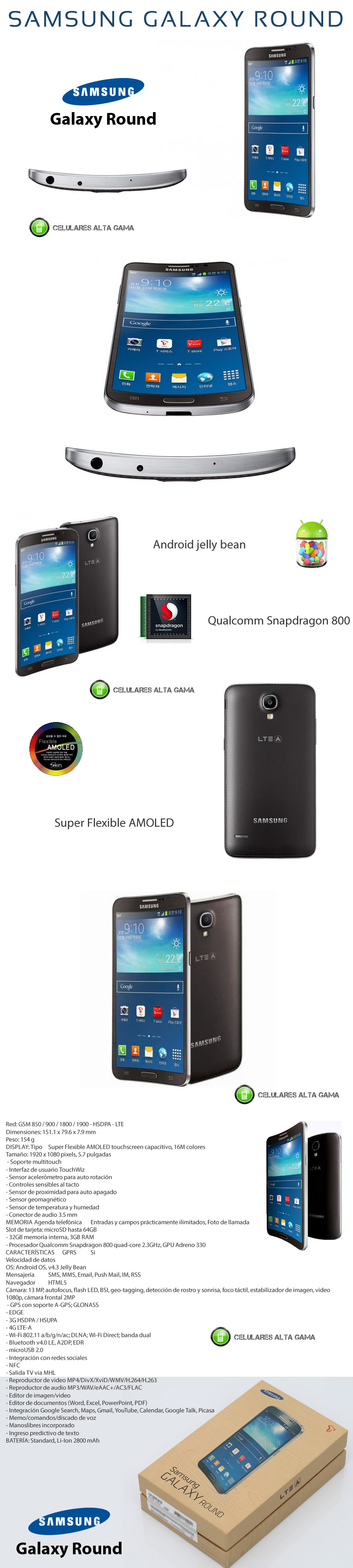 Nuevo galaxy round con pantalla curva liberado Samsung