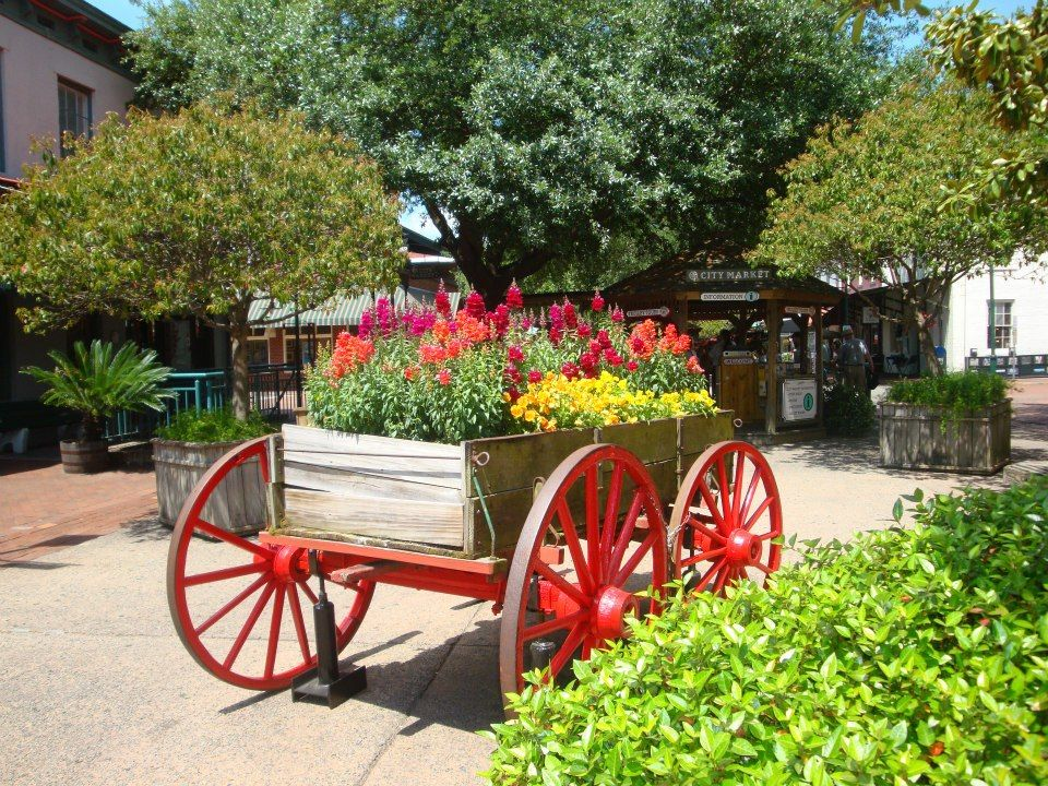 Love wagons with flowers decorating