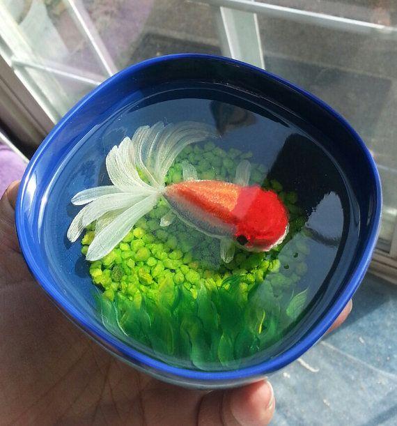 3d resin fish painting koi goldfish oranda by for Koi fish and goldfish