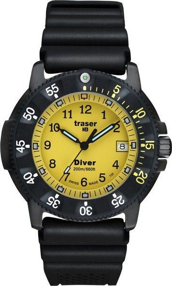 Traser Mens Para Marine Stainless Watch - Black Rubber Strap - Yellow Dial - P6504.930.54.05