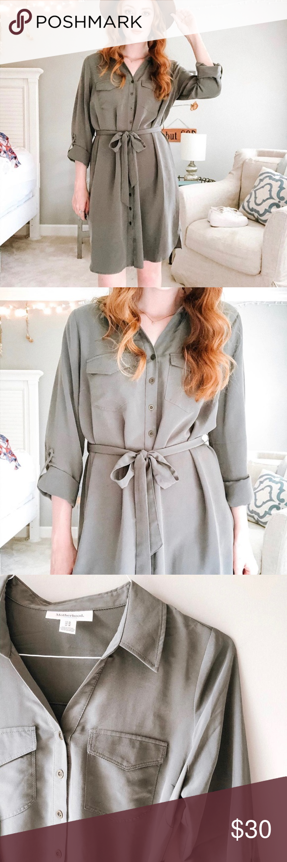 Photo of Army Green Tie Dress Nydelig silkeaktig nedkjørt kjole med rammen som …