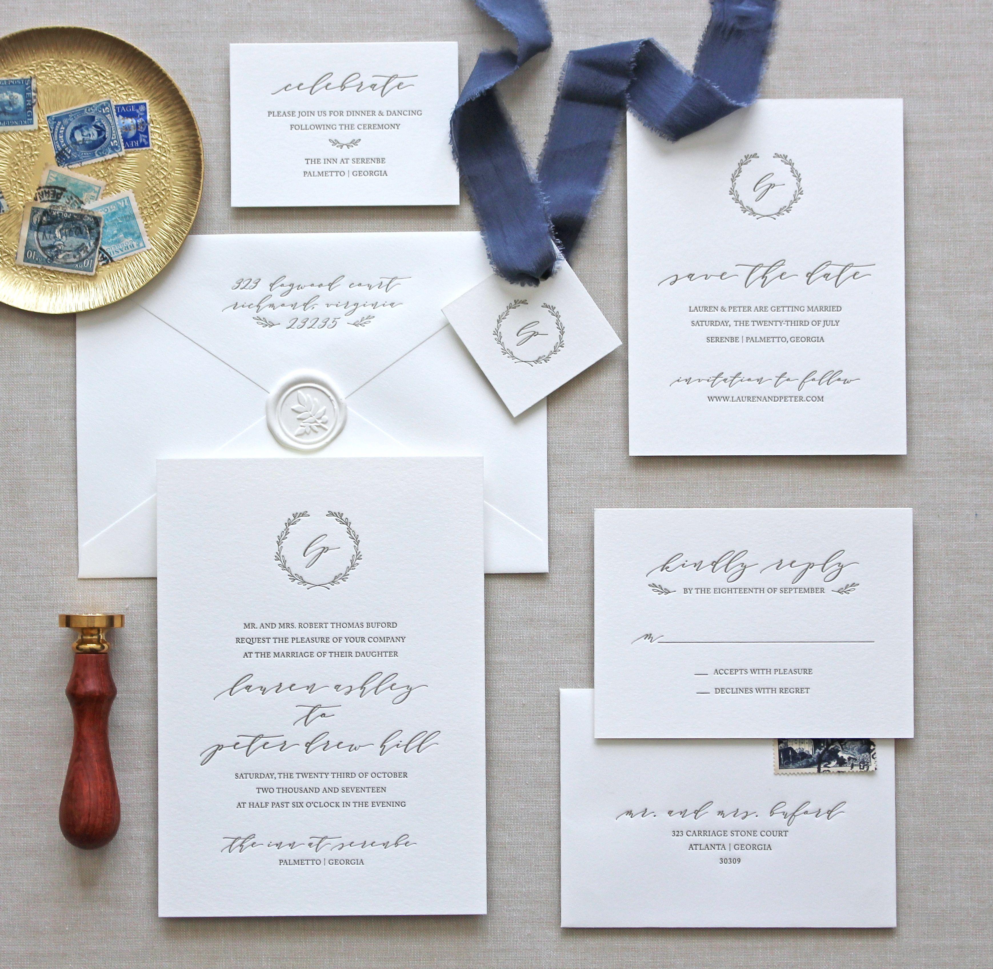 Letterpress wedding invitations // Serenbe design // CHATHAM & CARON ...