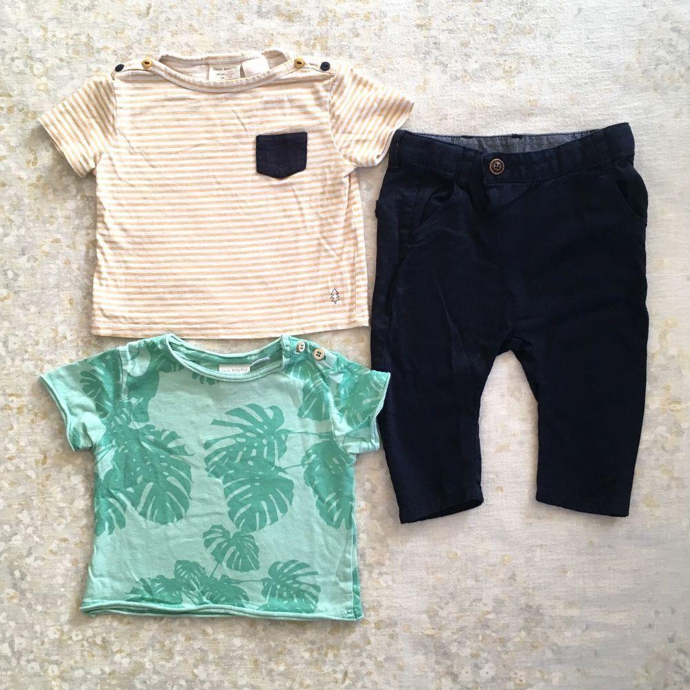 Zara Boys Lot Shirts Pants Striped Yellow Green Blue Size 3