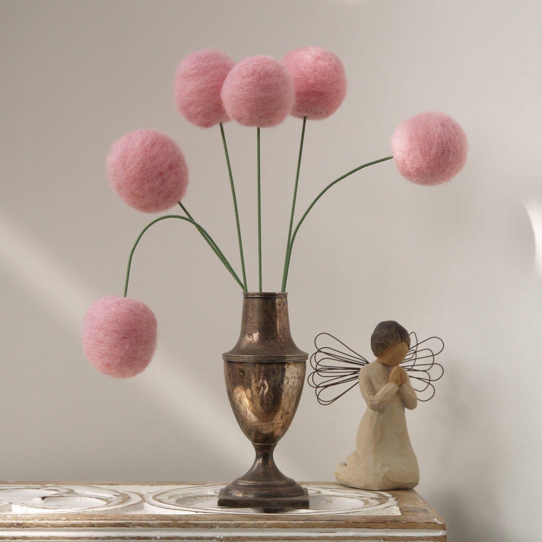 Wool Pom Pom Flowers felt Craspedia Billy Button Ball Bloom home
