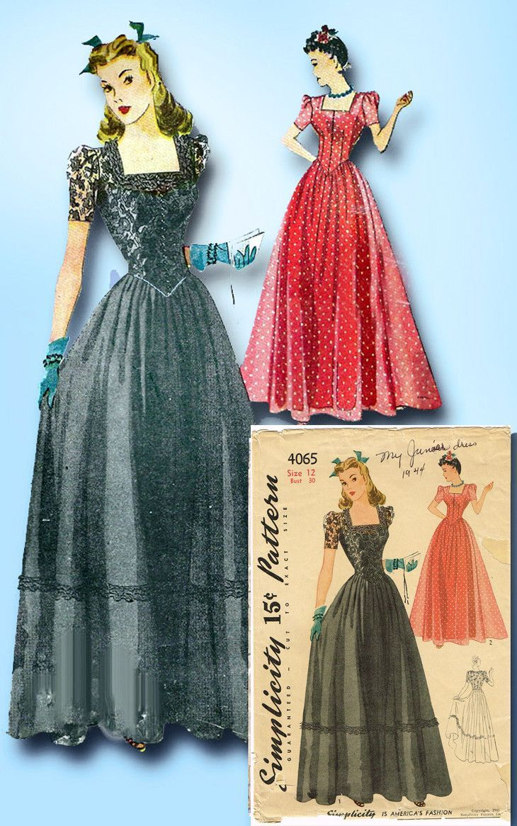 S vintage simplicity sewing pattern wwii misses evening