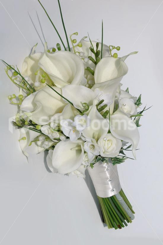 Elegant Ivory Calla Lily Rose Freesia Bridal Wedding Bouquet