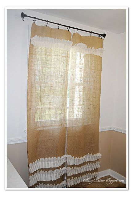 My Take On Ruffled Burlap Curtains Cortinas Pinterest Cortinas - Cortinas-de-arpillera