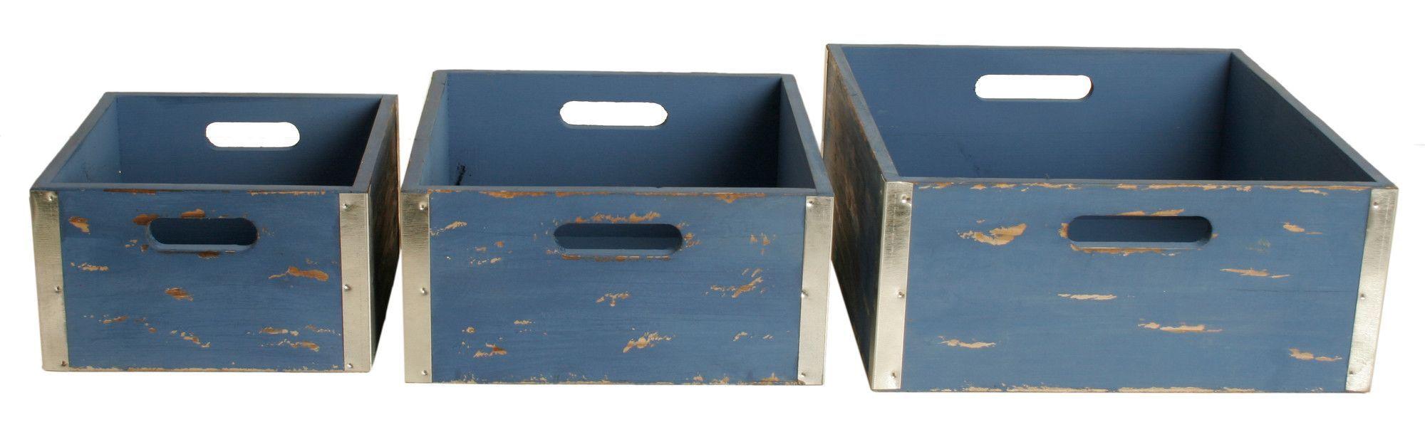 3 Piece Wooden Crate Set