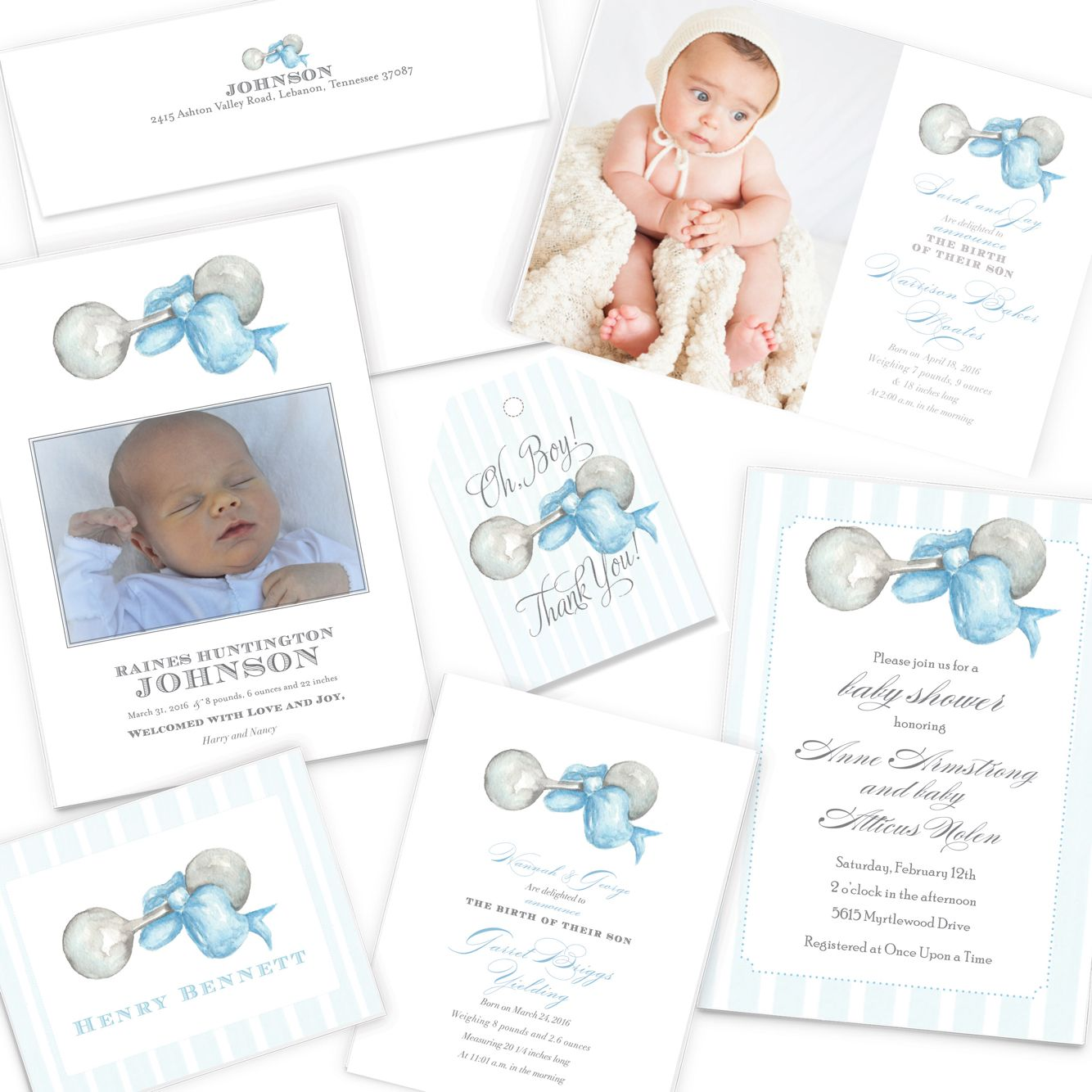 Oh, Boy! Baby boy birth announcement, baby shower invitations ...