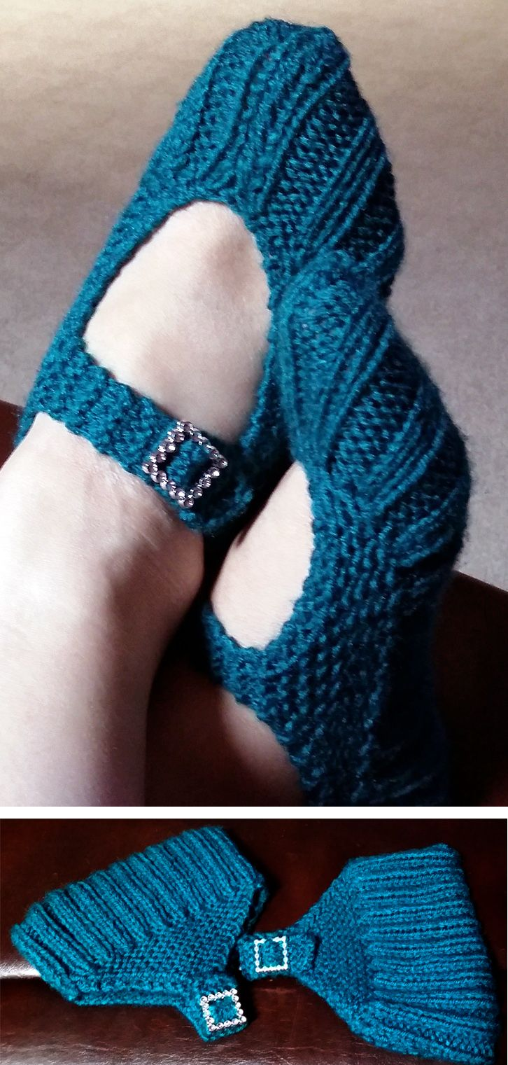 Free Knitting Pattern for Easy Pocketbook Slippers - Great for ...