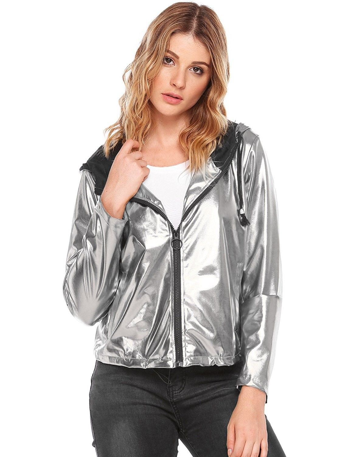 Women's Cropped Lightweight Sequin Leather Motorcycle Coat