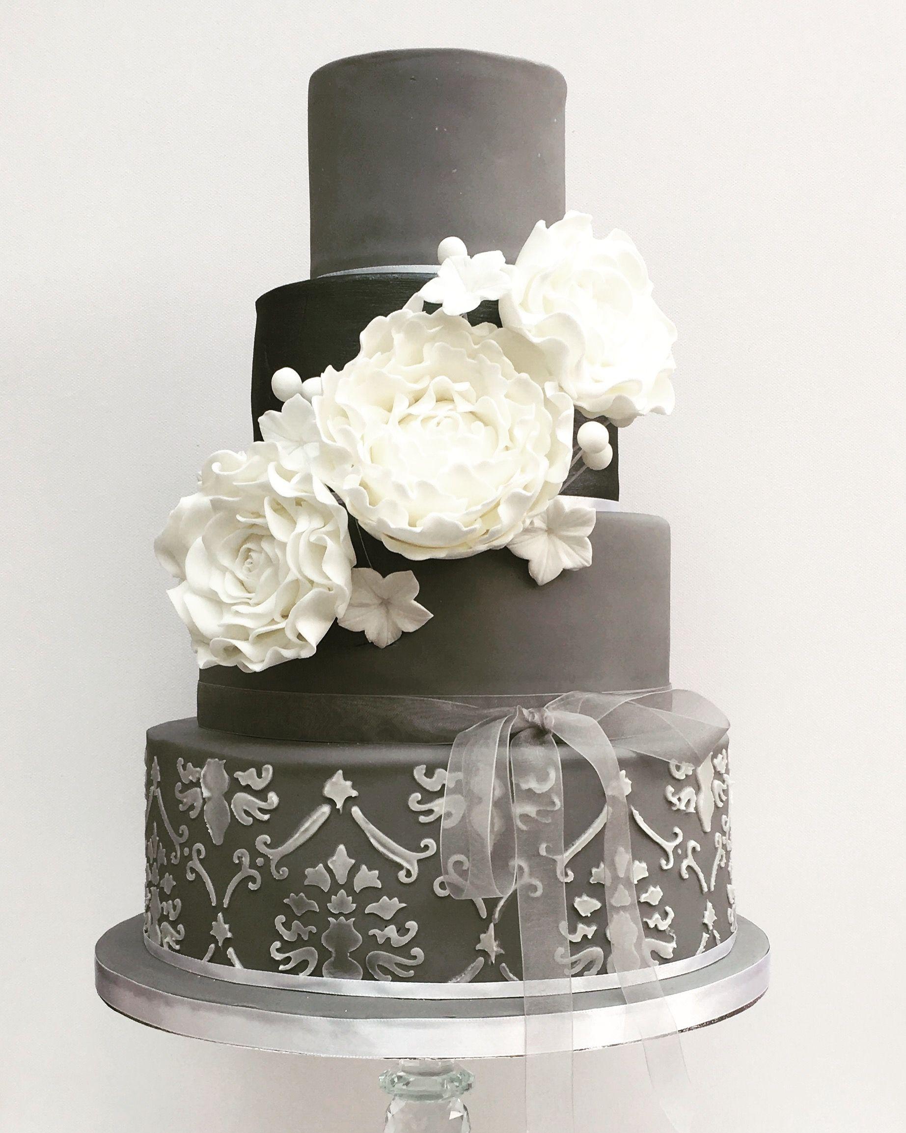 Grey wedding cake sugar flowers stencil royal icing lustre | Cakes ...