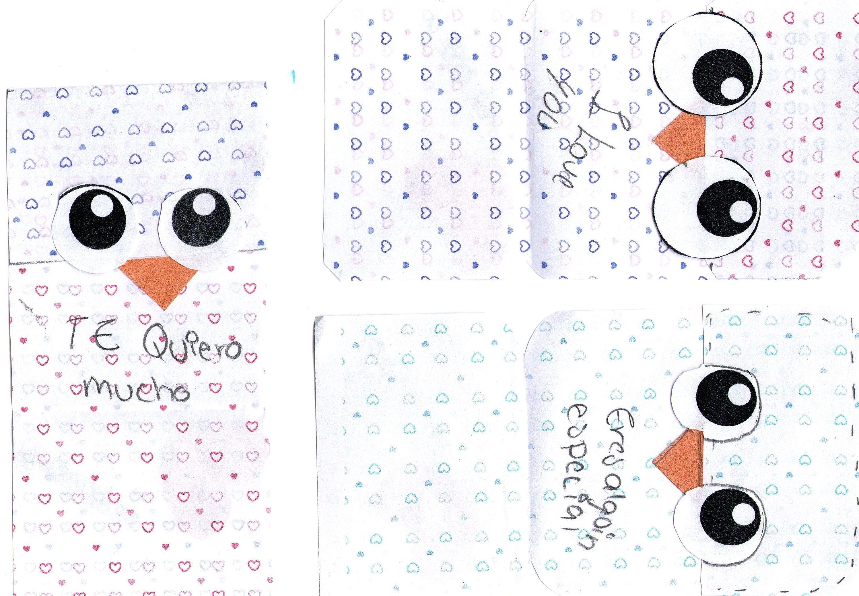 cartas de búhos linda que puedes hacer este  14 de febrero