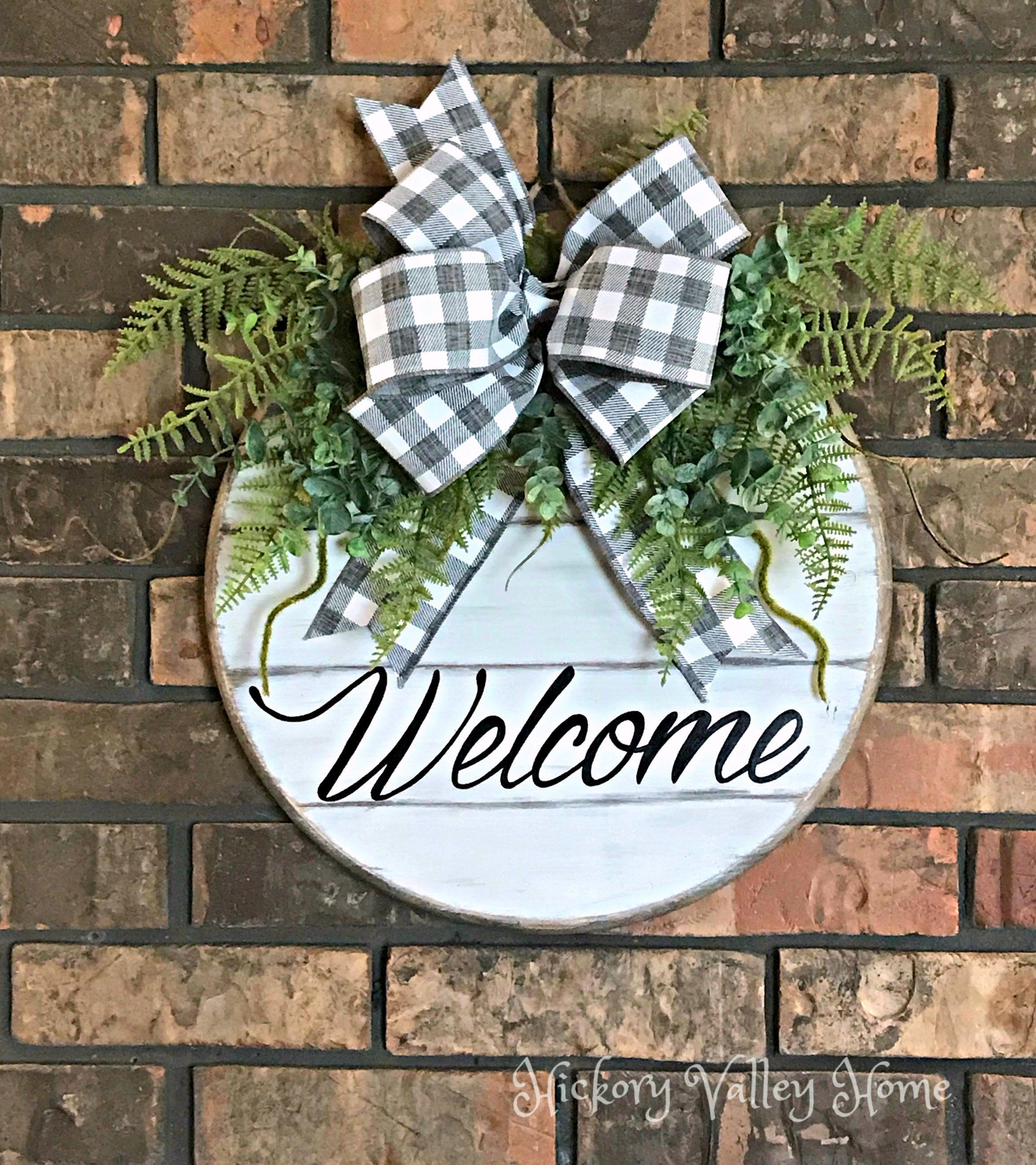 Door Hanger Welcome Sign Front Door Wreath Wall Hanging Year Round Door Decoration Hand Painted Welcome Signs Front Door Door Decorations Front Door Decor