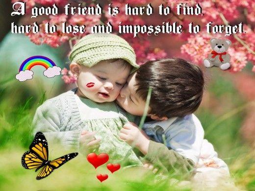 Sweet baby friendship kissing Wallpaper | Funyari | Friendship