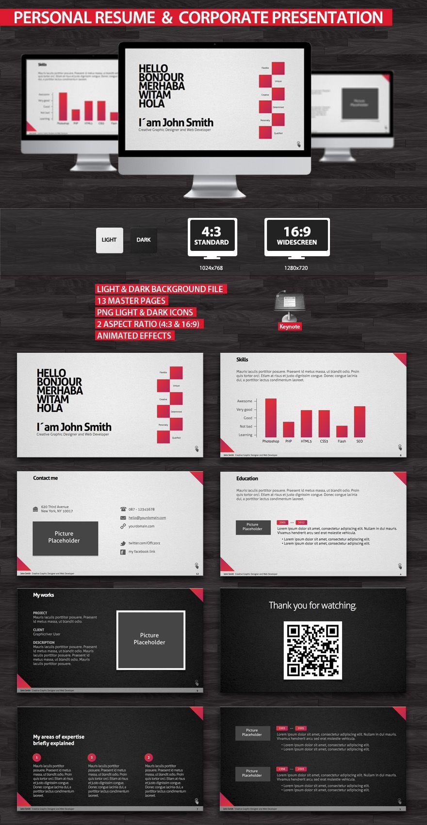 personal resume corporate presentation ppt design pinterest