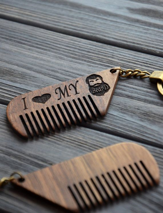 Personalized Comb Key Chain Wooden Mustache Hair Custom Keychain Gift For Him Men Dad Father Brother Guy