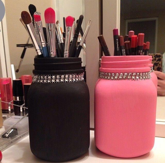 mason jar makeup brush holder. makeup organization mason jar brush holder