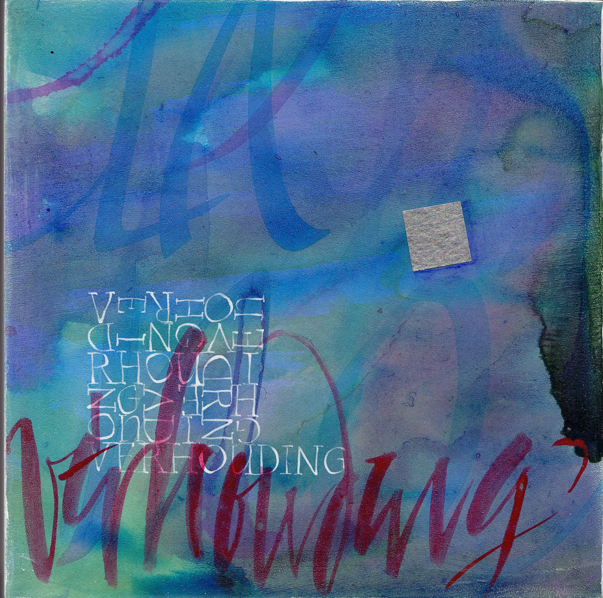 """""""Verhouding"""" (relationship)  Acrylic on wood  200 x 200mm  Price on request.  www.letterdance.co.za"""