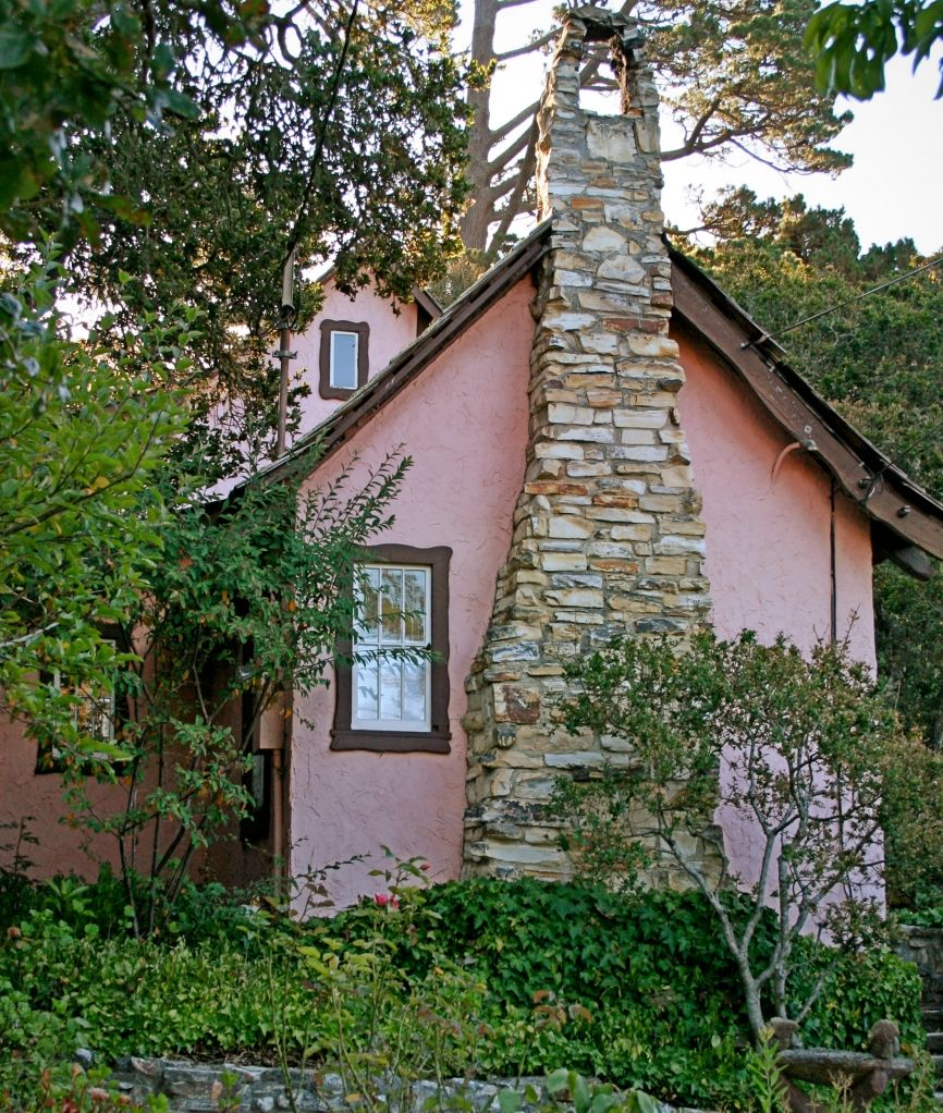 Carmel-by-the-Sea, California, USA - Hugh Comstock's Pink and Browne Cottage